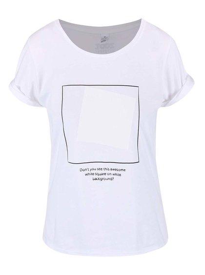 Bílé dámské tričko se čtverci ZOOT Originál White On White