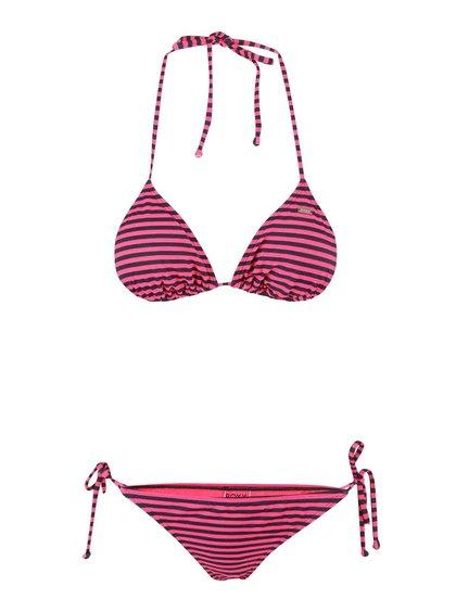 Ružové dvojdielne plavky s prúžkami Roxy Tiki
