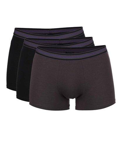 Sada tří boxerek v černé a hnědé barvě Marginal
