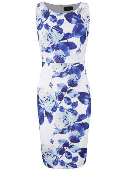 Krémové šaty s dvojitým topom a modrými kvetmi AX Paris