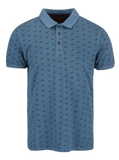Modré pánské polo triko se vzorem s.Oliver