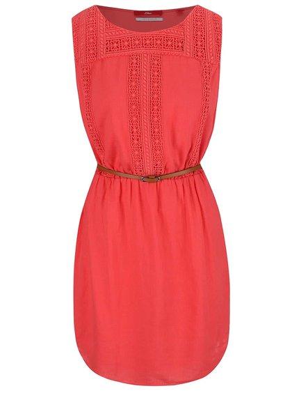 Ružové šaty s čipkovanými detailmi s.Oliver
