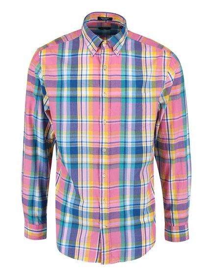 Modro-růžová pánská kostkovaná regular fit košile GANT