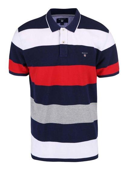 Tmavě modré pruhované pánské polo triko GANT