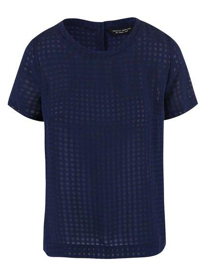 Tmavomodré transparentné tričko Dorothy Perkins