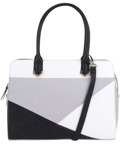 Geantă DSUK albă/neagră cu model