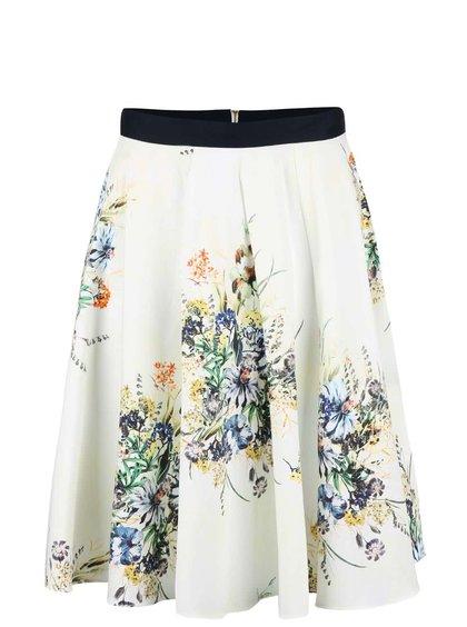 Krémová kolová sukňa s kvetmi Closet