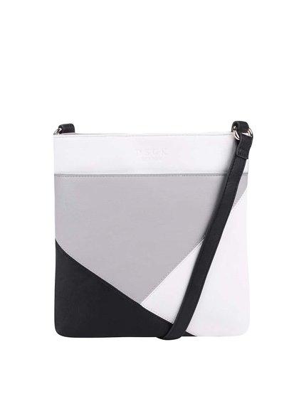 Černo-bílo-šedá crossbody kabelka DSUK