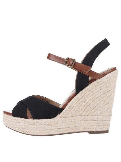 Černé dámské sandálky na platformě a klínku Pepe Jeans