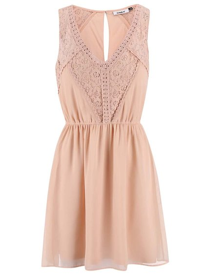 Růžové šaty s krajkovými detaily ONLY Matilda