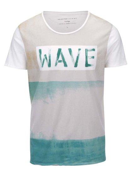Modro-bílé triko s potiskem Selected Homme Sea Wave