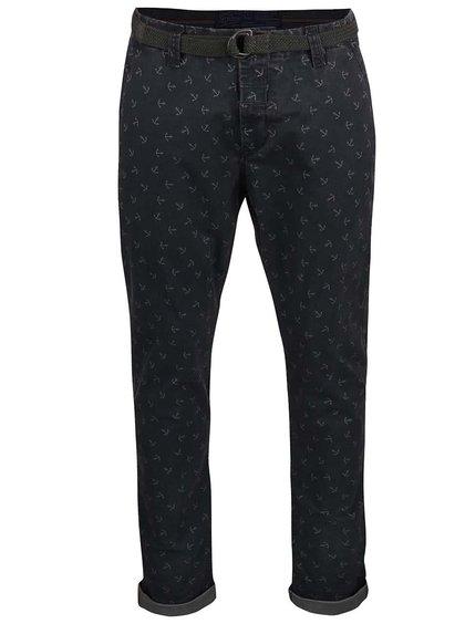 Sivomodré vzorované nohavice s opaskom Dstrezzed