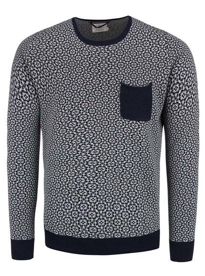 Sivo-modrý vzorovaný sveter s vreckom Dstrezzed