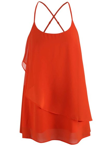 Rochie mini VERO MODA Miva portocalie cu bretele subțiri
