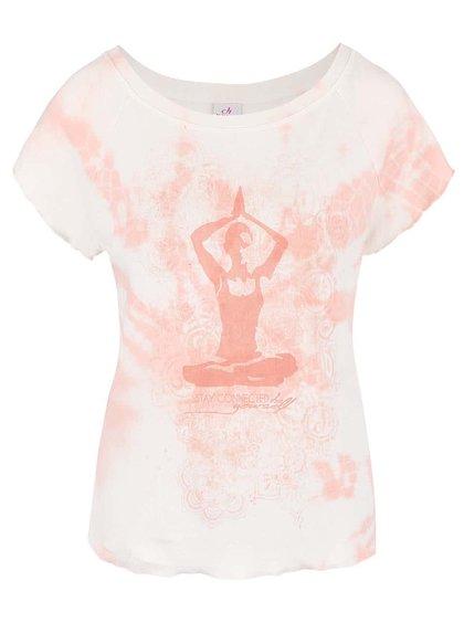 Krémové tričko s ružovou potlačou DEHA