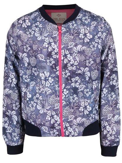 Sivomodrá dievčenská bunda so vzorom kvetín Cars Jeans Allison