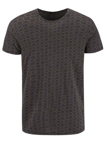 Hnedo-sivé vzorované tričko Dstrezzed
