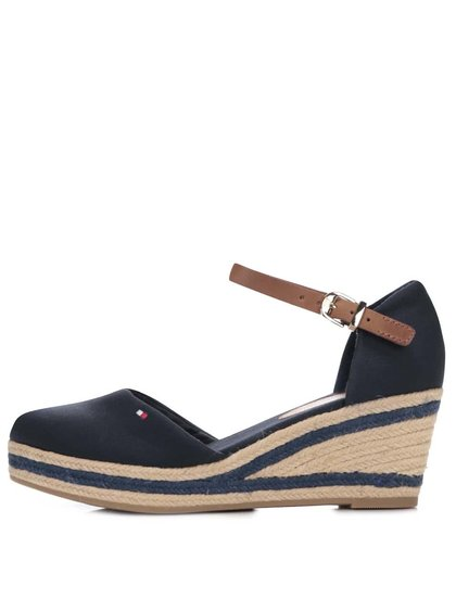 Tmavě modré dámské bavlněné boty na klínku Tommy Hilfiger