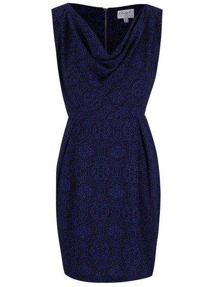 Tmavomodré vzorované šaty s padavým výstrihom Closet