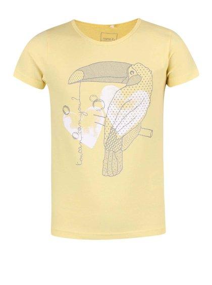 Tricou de fete Name It Nitveen galben, cu print