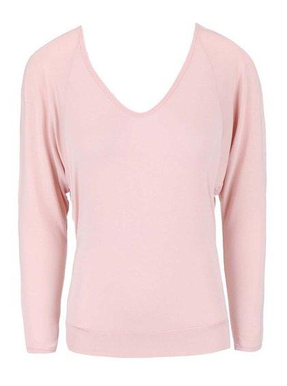 Bluză Deha roz deschis, cu spatele decoltat