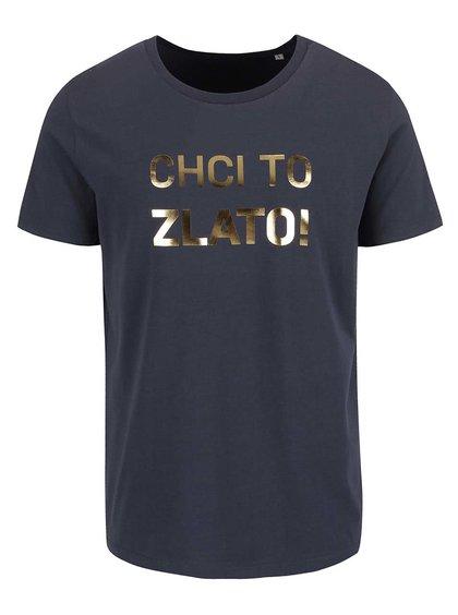 Modrošedé pánské triko ZOOT Originál Chci to zlato
