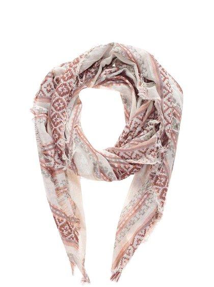 Růžový šátek se vzorem Pieces Benja