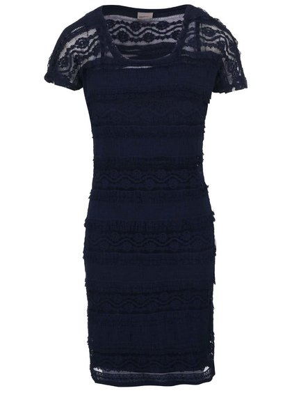 Tmavomodré čipkované šaty VERO MODA Maya