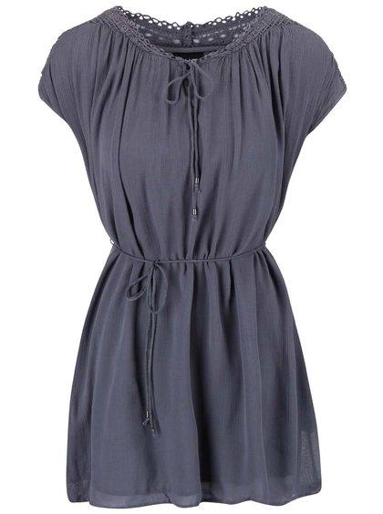 Šedomodré šaty s krajkovanými rameny VILA Nist