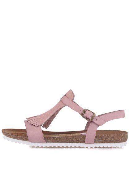 Růžové kožené sandály OJJU