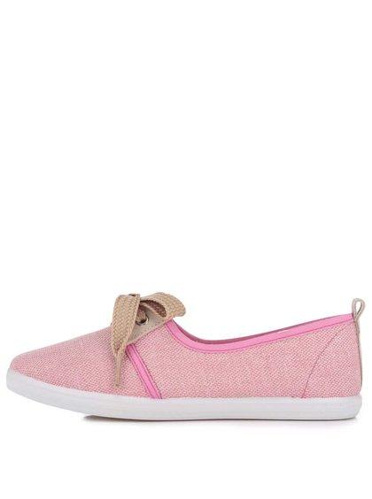 Béžovo-růžové dámské tenisky s ozdobnou mašlí OJJU Denia
