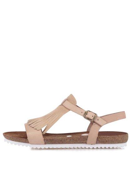 Béžové kožené sandále so strapcami OJJU