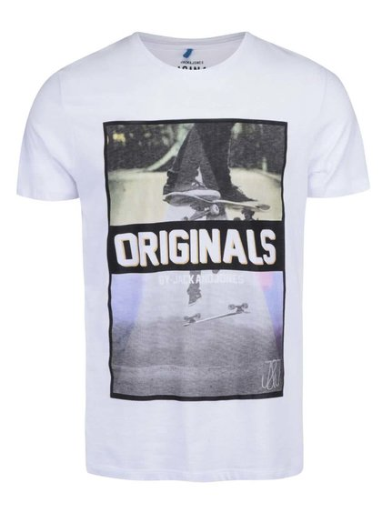 Bílé triko s potiskem Jack & Jones Skater