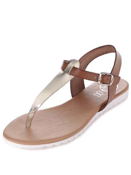 Zlato-hnedé kožené sandálky OJJU