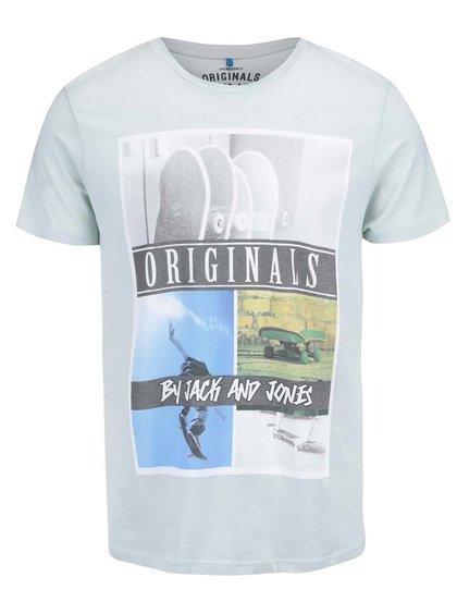 Svetlozelené tričko s potlačou Jack & Jones Skater