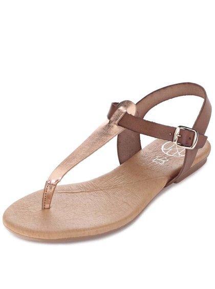 Bronzovo-hnědé kožené sandálky OJJU