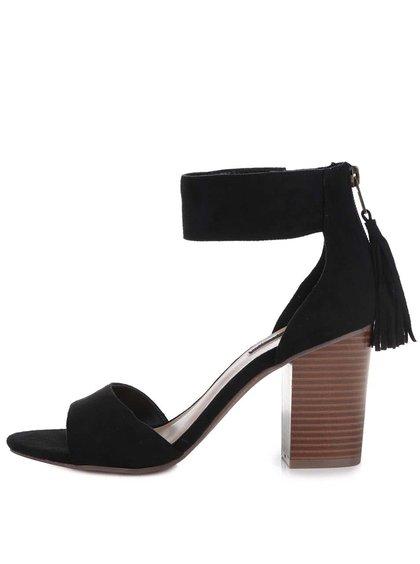 Černé sandálky v semišové úpravě s třásněmi na podpatku Dorothy Perkins