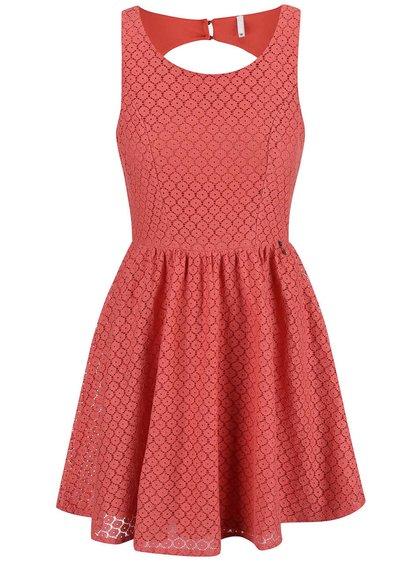 Ružové čipkované šaty ONLY Line Fairy