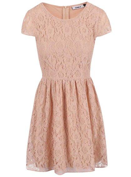 Růžové krajkové šaty ONLY Marun