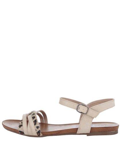 Krémové sandálky s leopardím vzorom Refresh