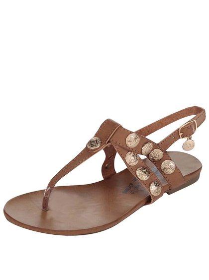 Hnědé páskové sandálky s aplikací ve zlaté barvě Xti