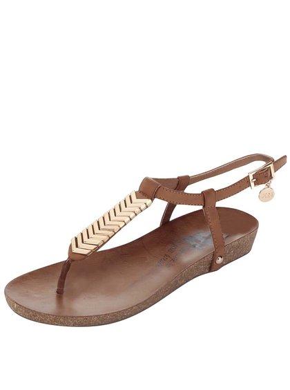 Hnedé remienkové sandále s ozdobou na priehlavku Xti