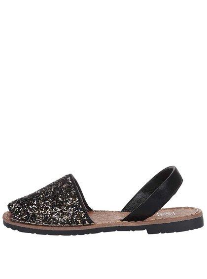 Sandale Colors of California negre cu paiete