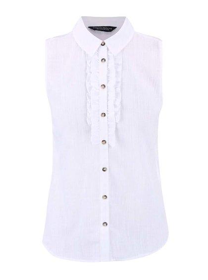 Biela košeľa bez rukávov s volánmi Dorothy Perkins
