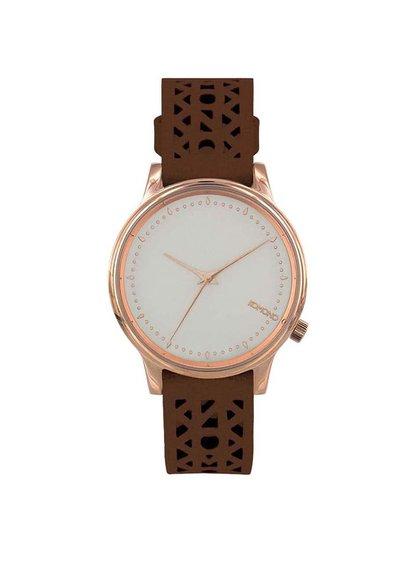 Tmavohnedé kožené dámske hodinky Komono Estelle Cutout Cognac