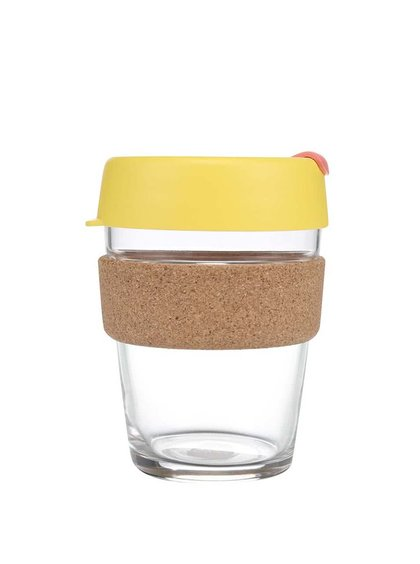 Designový cestovní skleněný hrnek KeepCup Brew Saffron Cork Medium