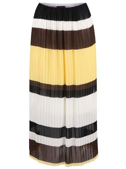 Hnedo-bielo-žltá plisovaná midisukňa Dorothy Perkins