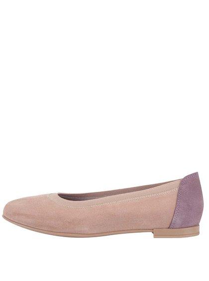 Fialovo-ružové kožené balerínky OJJU
