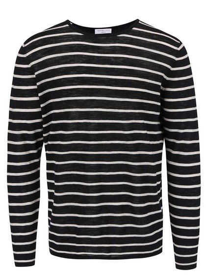 Krémovo-čierny pruhovaný sveter Selected Homme Elias