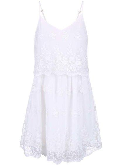 Biele romantické čipkované šaty VERO MODA Kiki